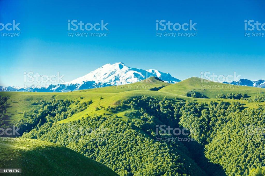 Elbrus in sunny day stock photo
