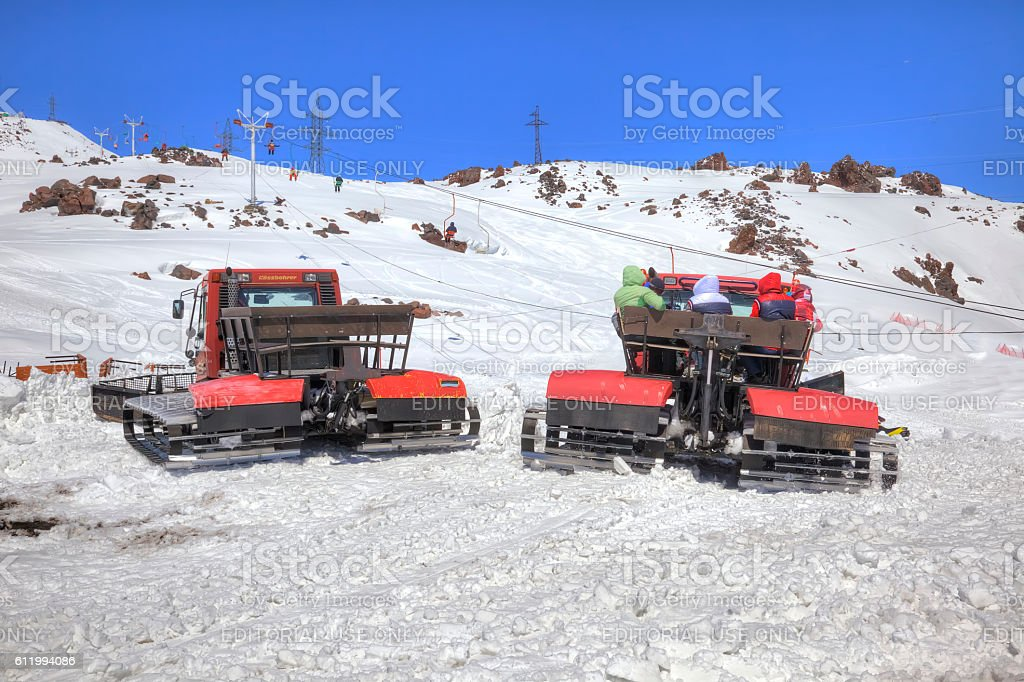 Elbrus. Snow grooming on the slope of mountain stock photo