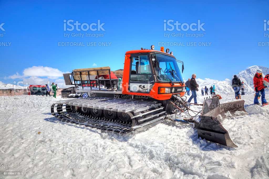 Elbrus. Snow grooming slope of mountain stock photo