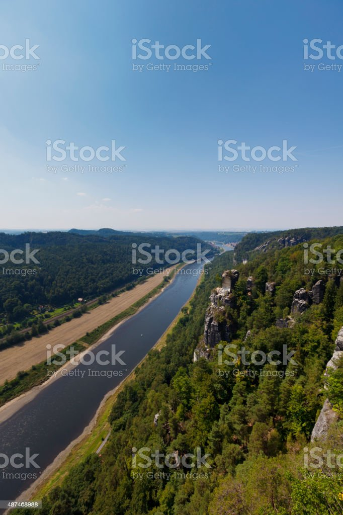 elbsandsteingebirge - elbsandstone mountains saxony stock photo