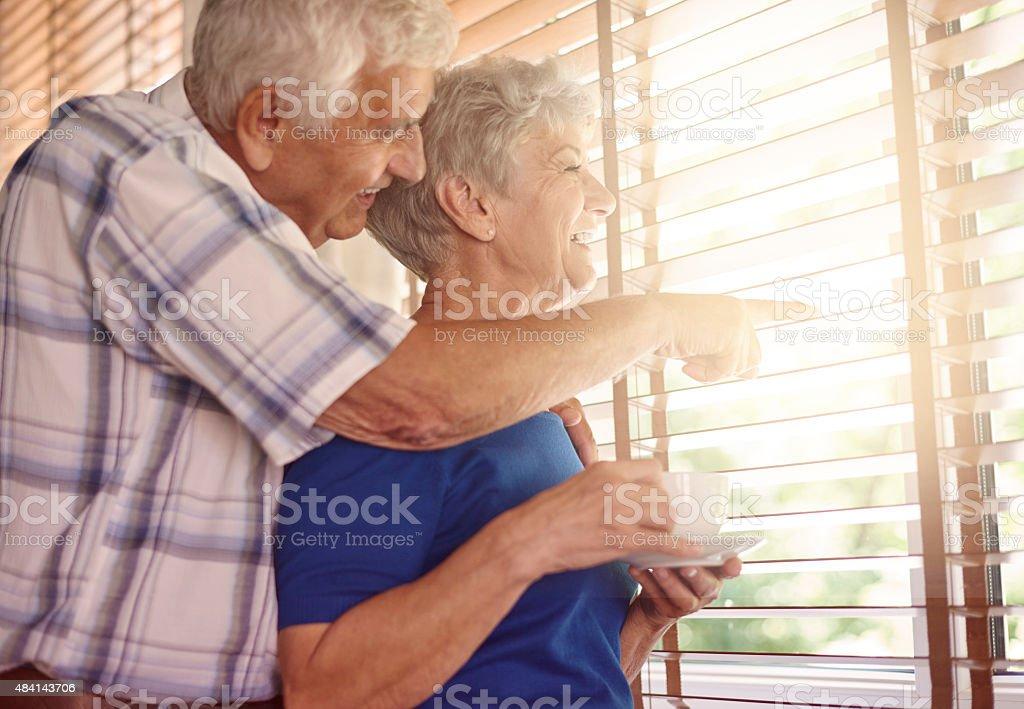 Elder couple having a coffee break stock photo