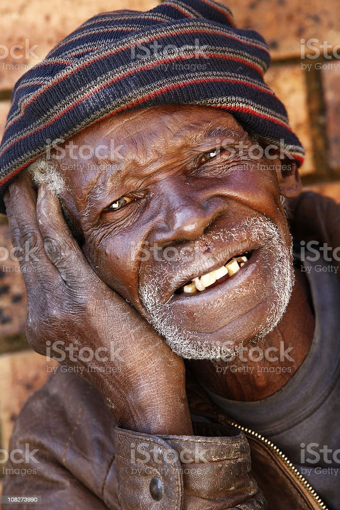 Elderly African man smiling royalty-free stock photo