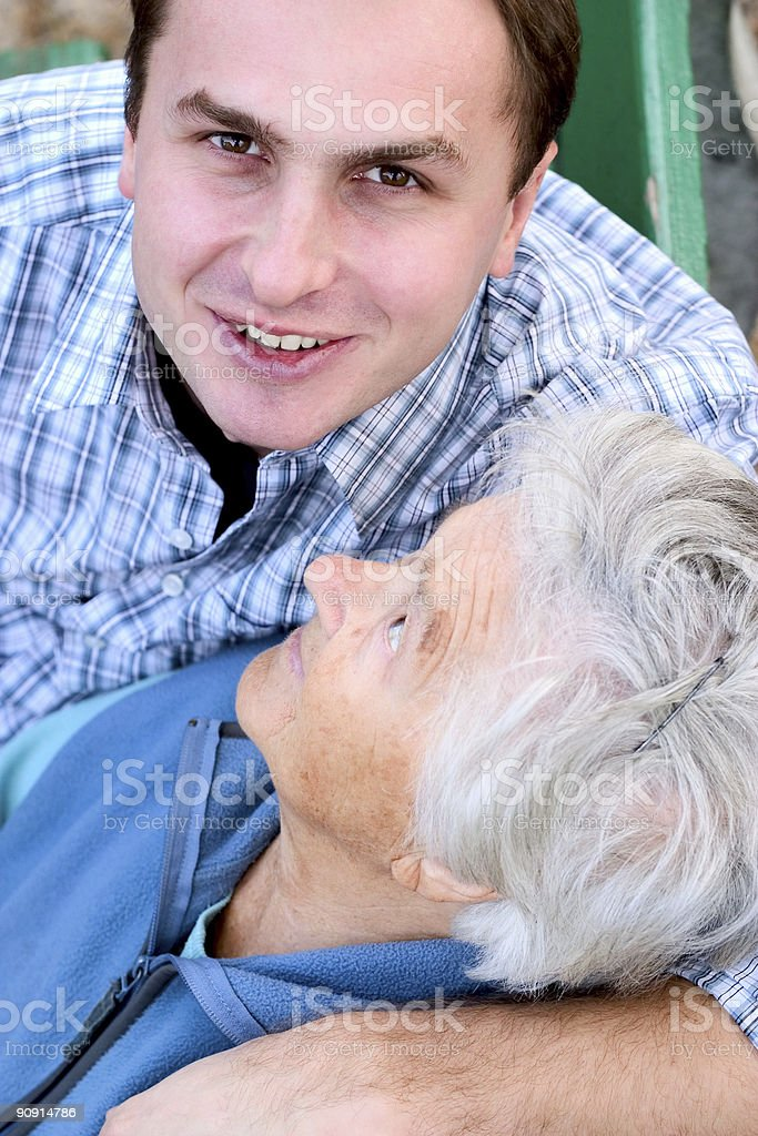 Elderly and young royalty-free stock photo