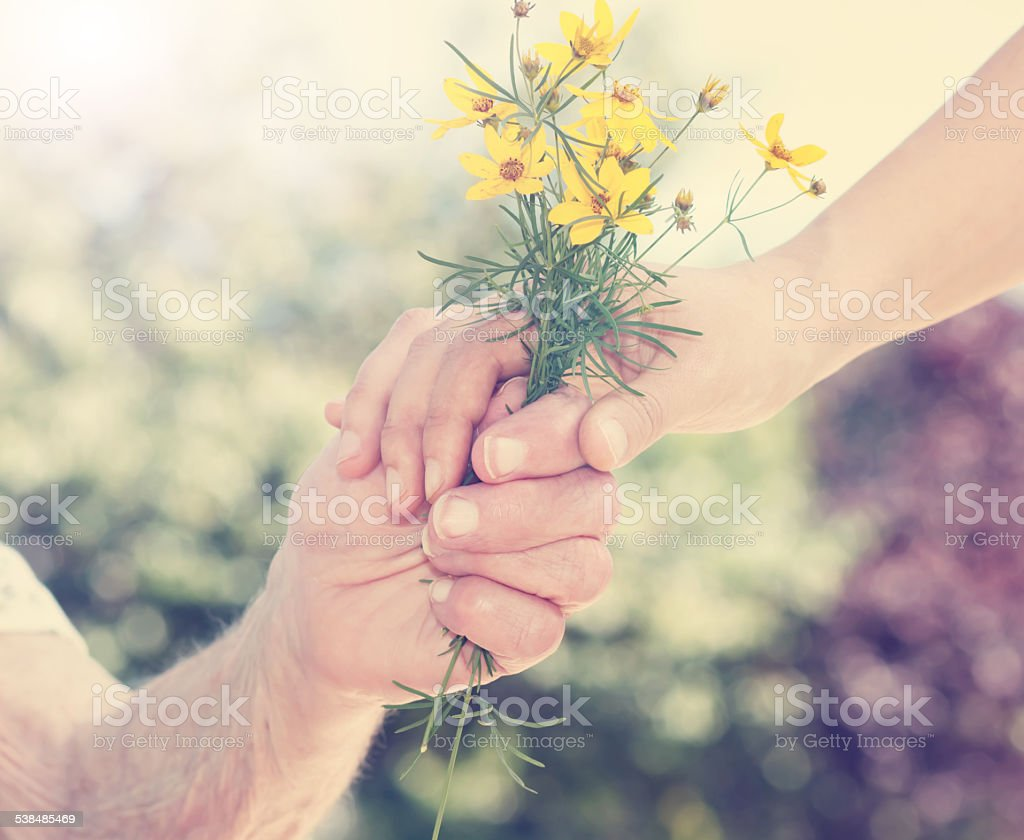 Elderly and young woman holding flowers outside stock photo