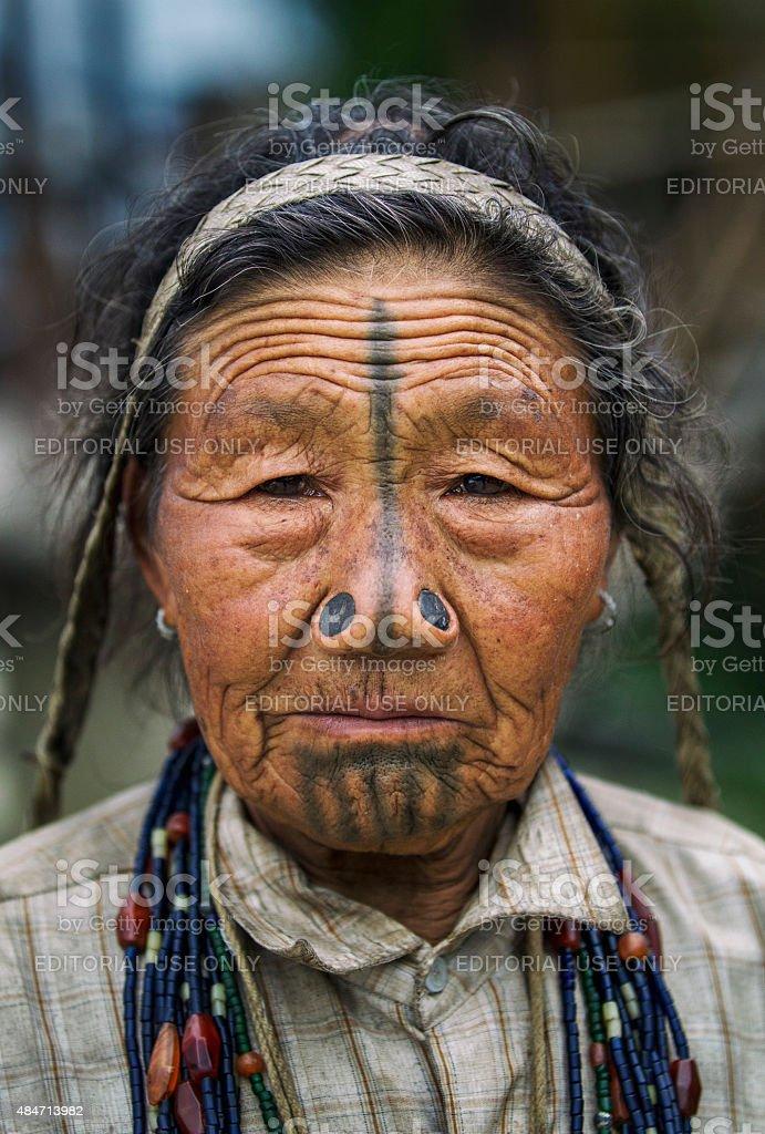 Elderly Apatani Tribal women, Arunchal Pradesh stock photo