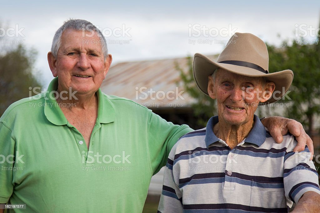 Elderly brothers portrait outdoor royalty-free stock photo