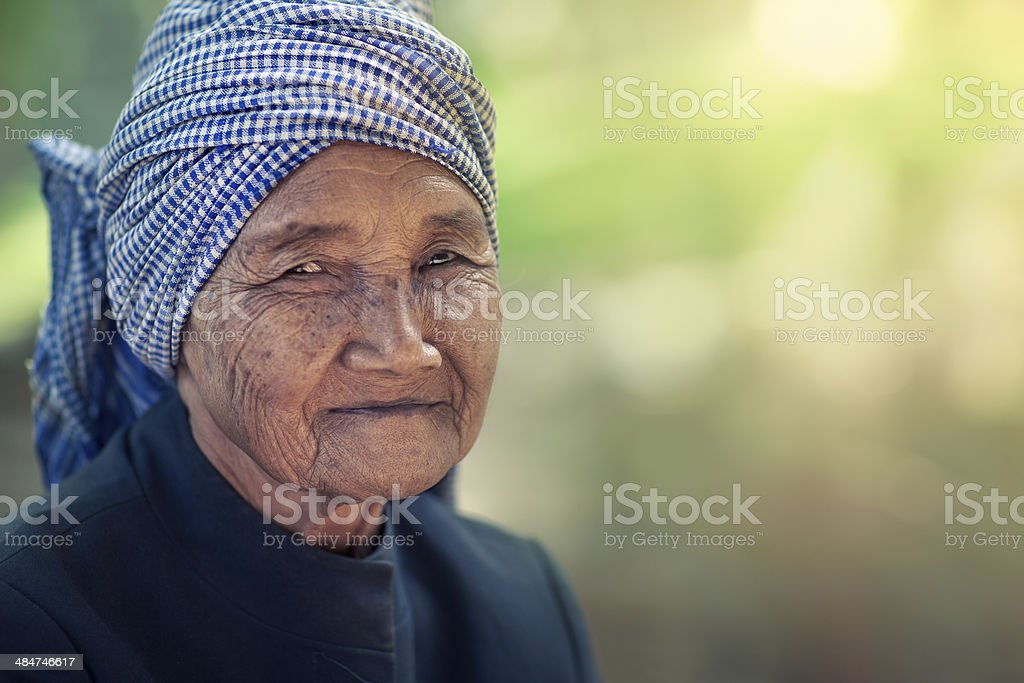 Elderly cambodian woman stock photo