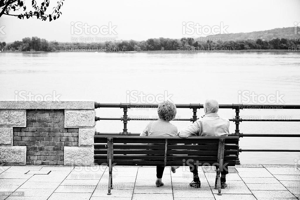 Elderly Couple. Black and White stock photo