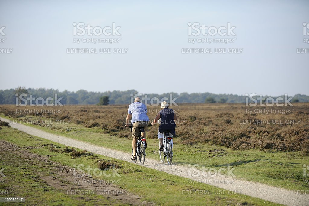 Elderly couple cycling in nature royalty-free stock photo