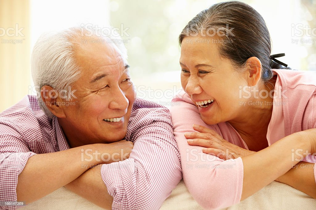 A elderly couple happy at home royalty-free stock photo