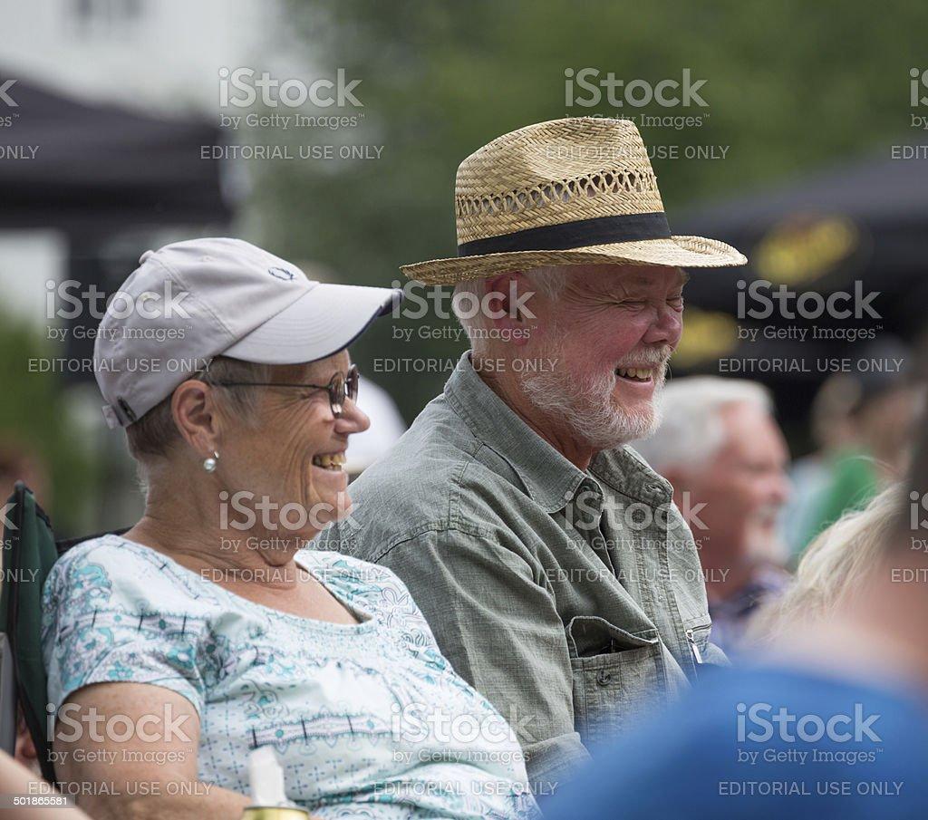 Elderly couple in Copenhagen Jazz Festival 2014 stock photo