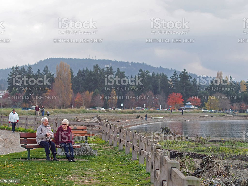 Elderly Couple on a Crisp Parksville, Vancouver Island Afternoon stock photo