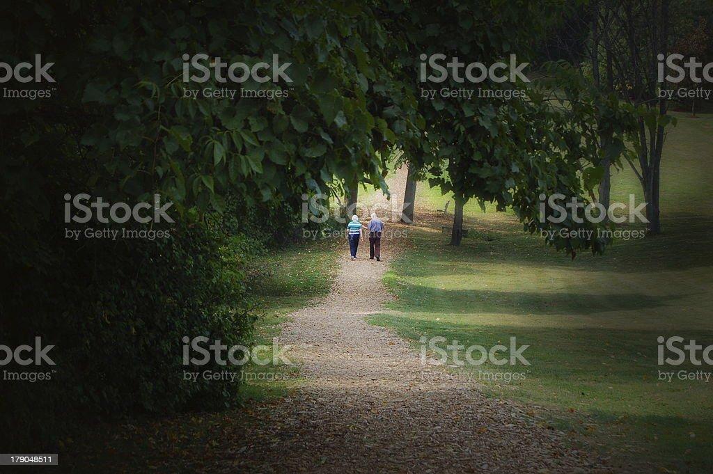 Elderly Couple Walking royalty-free stock photo