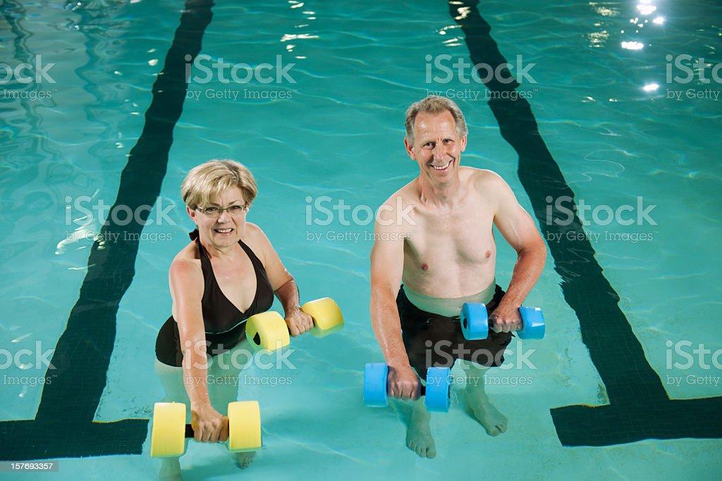 Elderly Couple water aerobics royalty-free stock photo