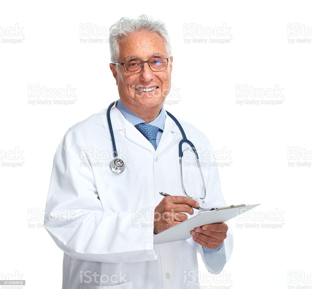 Elderly doctor. stock photo