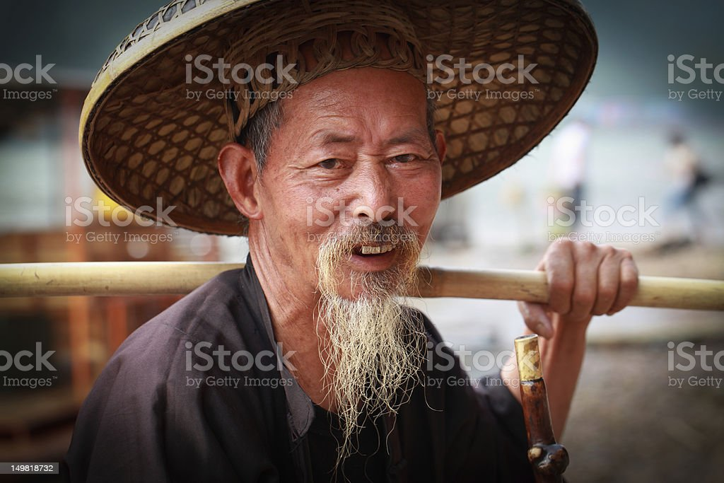 Elderly  fisherman stock photo