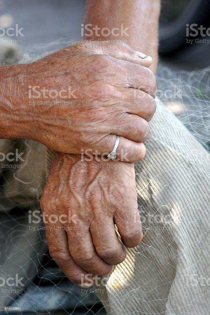 elderly fisherman royalty-free stock photo