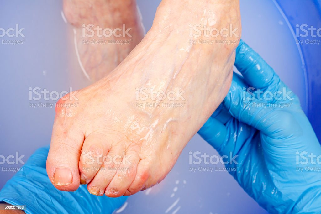 Elderly foot hygiene stock photo