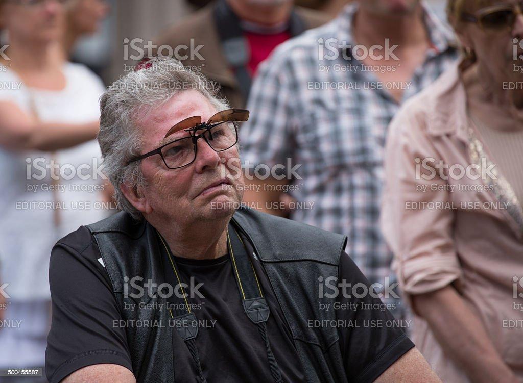 Elderly gentleman in Copenhagen Jazz Festival 2014 stock photo