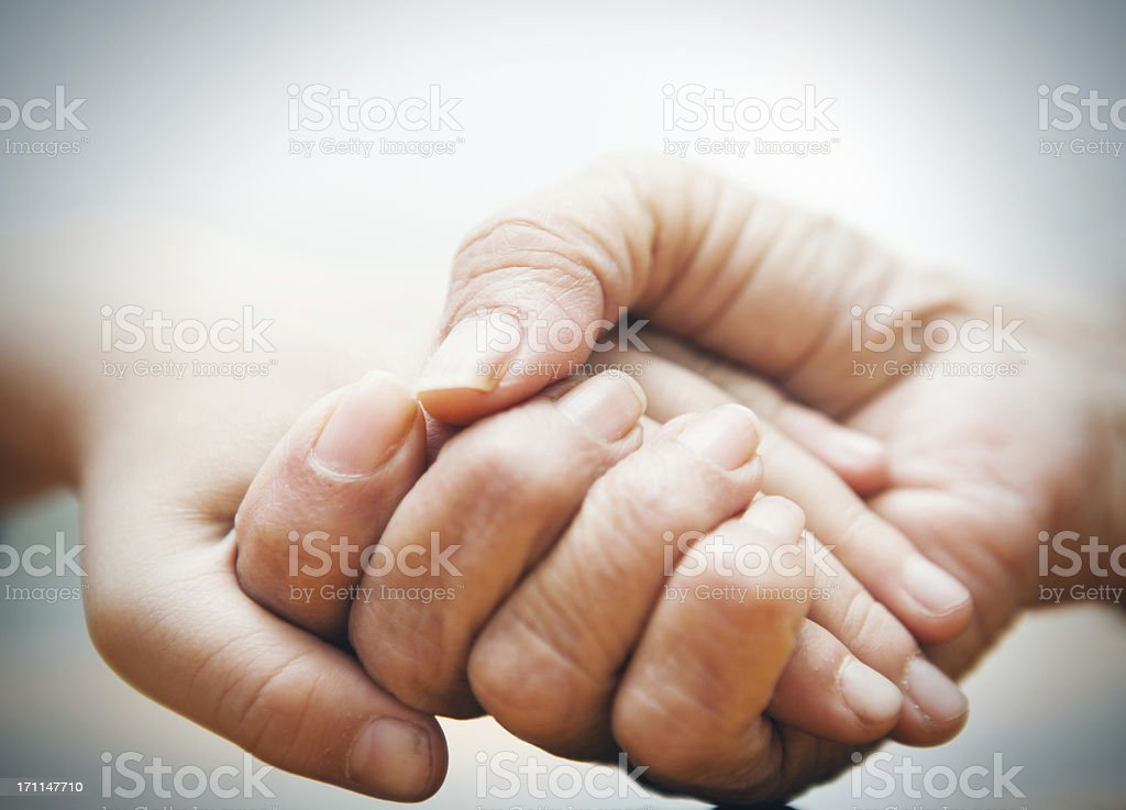 Elderly hand holding baby hands royalty-free stock photo
