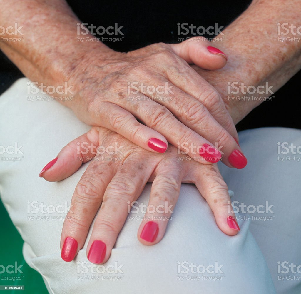 Elderly hands of woman royalty-free stock photo