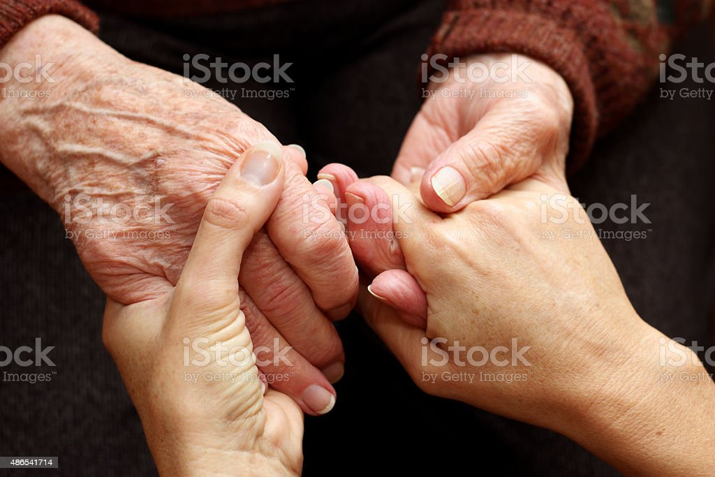 Elderly, help and understanding stock photo
