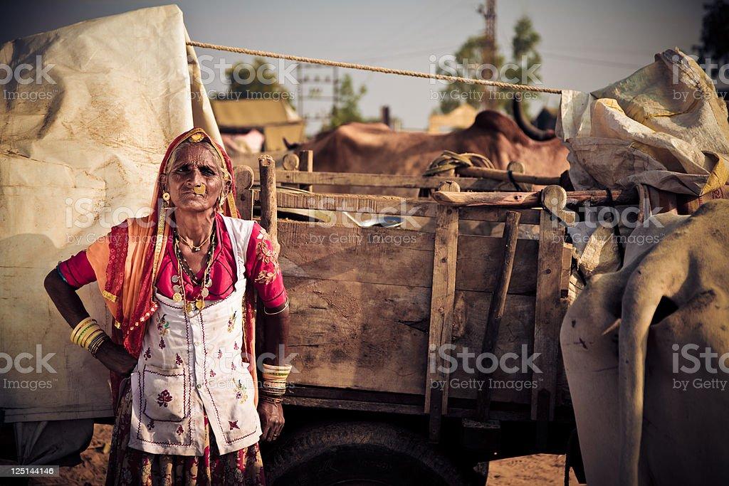 elderly indian lady at the pushkar fair stock photo