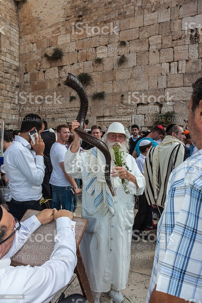 Elderly Jew with a Shofar stock photo