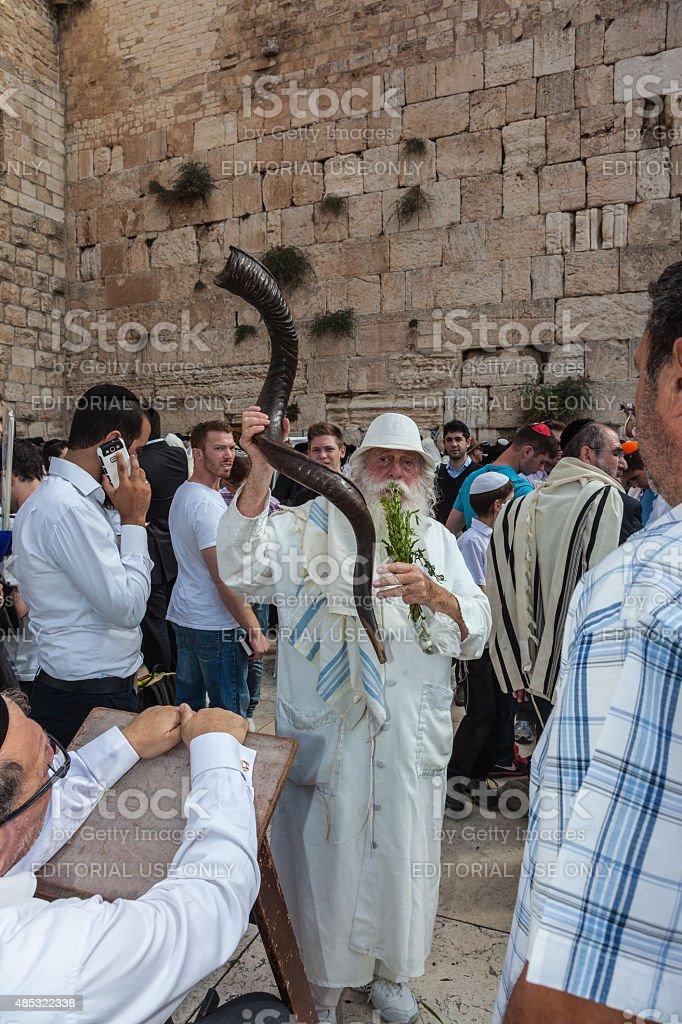 Elderly Jew with a Shofar stock photo