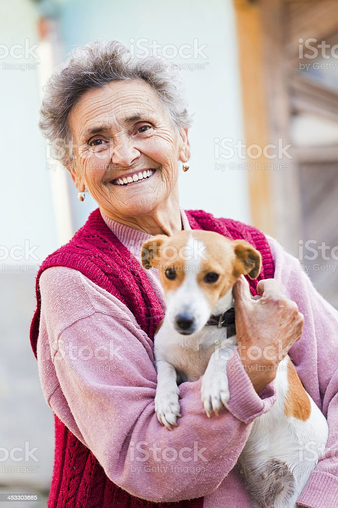 Elderly Lady with Pet royalty-free stock photo