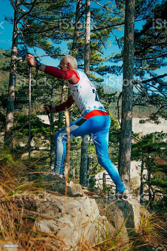 노인 숫나사 프로그램, 노르딕 산책용 장대 산 추적 관찰 royalty-free 스톡 사진