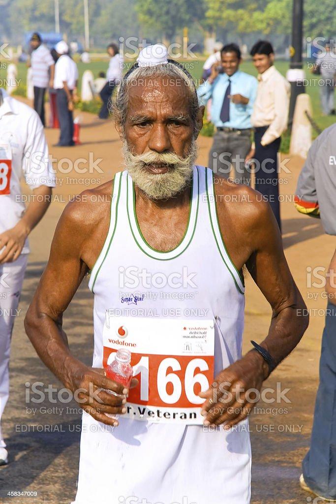 Elderly male sikh marathon runner royalty-free stock photo