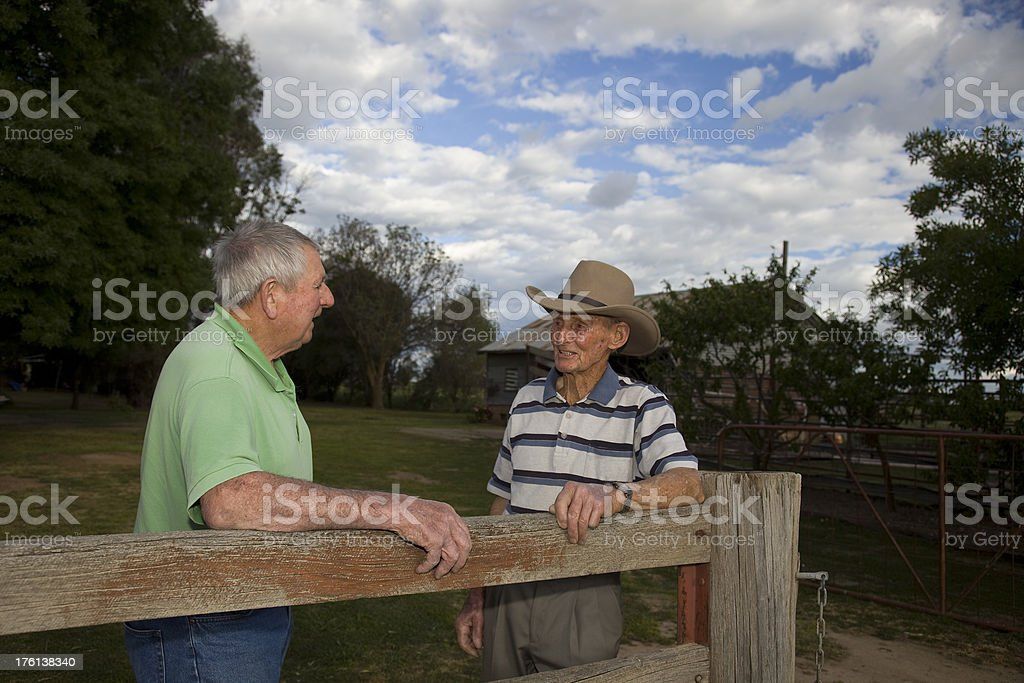 Elderly Man and his younger brother stock photo