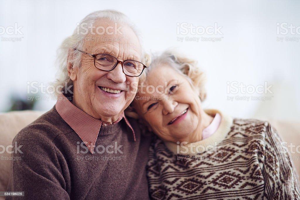 Elderly man and woman stock photo
