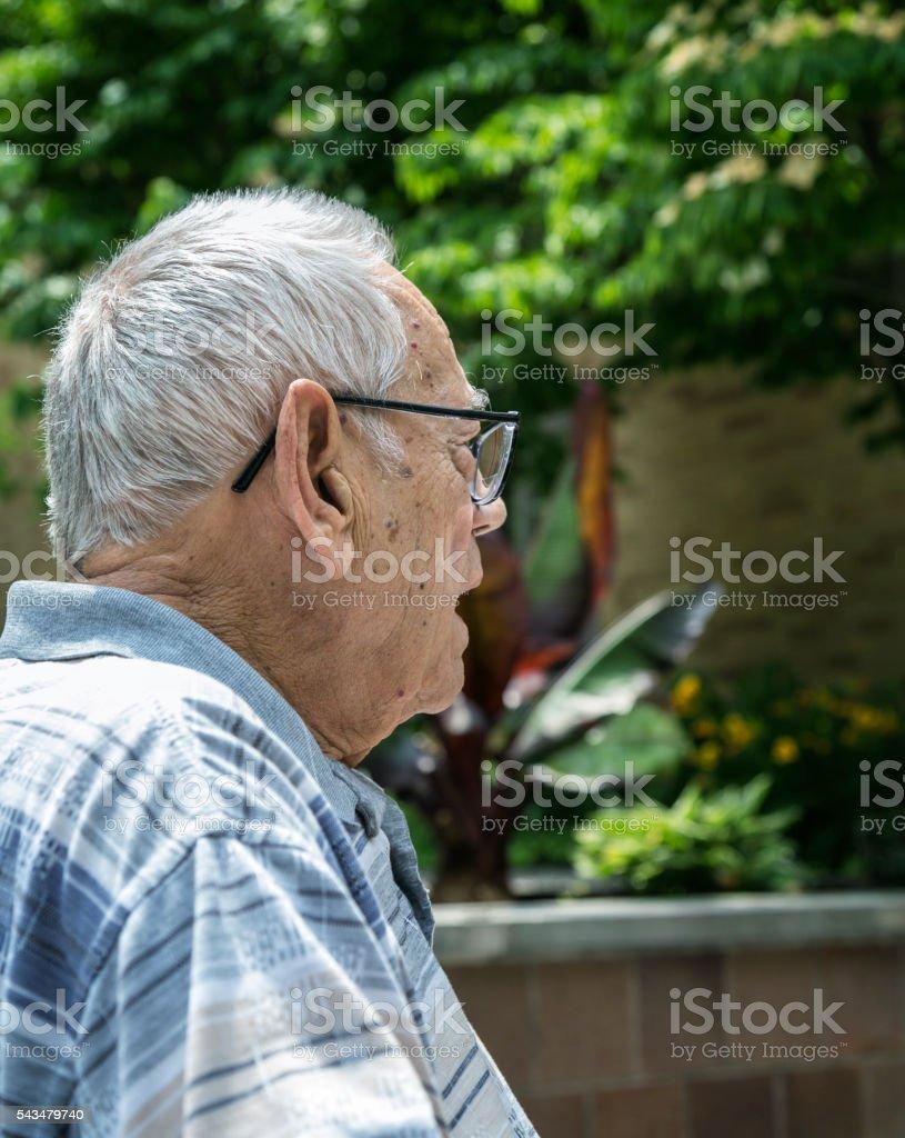 Elderly Man Asking Question stock photo