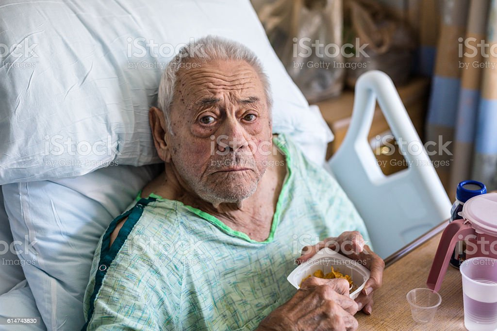 Elderly Man Hospital Patient Eating Portion Control Breakfast Cereal stock photo