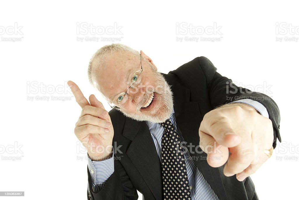 Elderly man is pointing fingers royalty-free stock photo