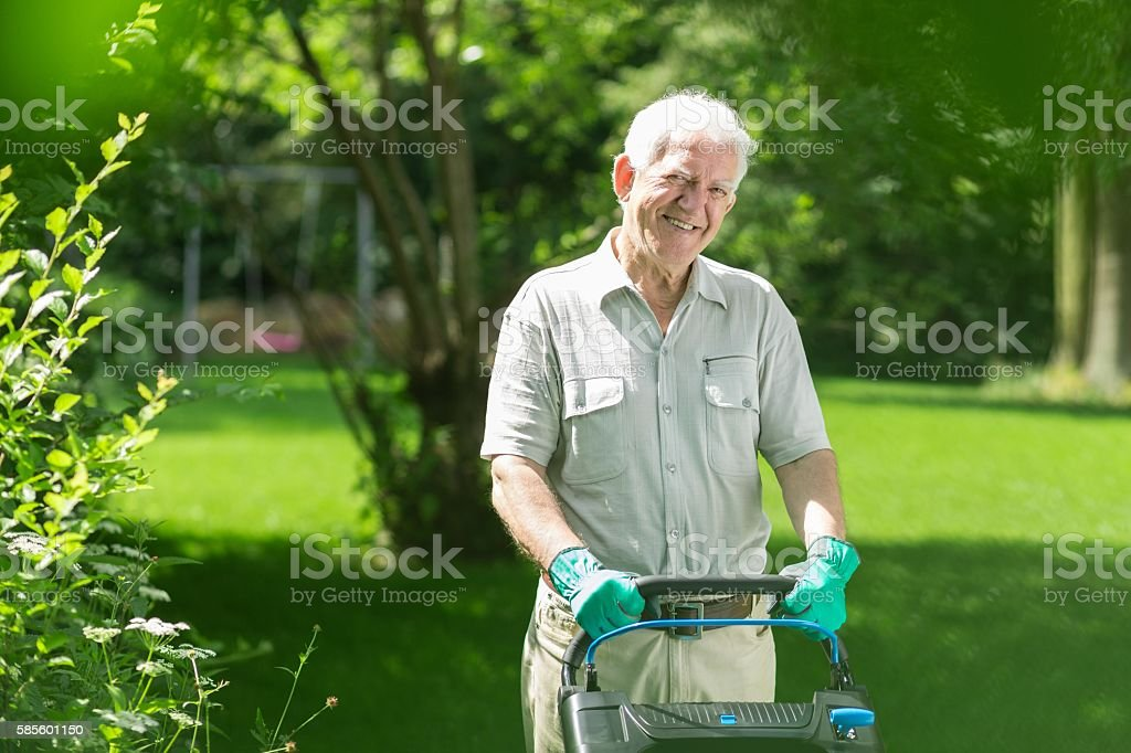 Elderly man mowing the lawn stock photo