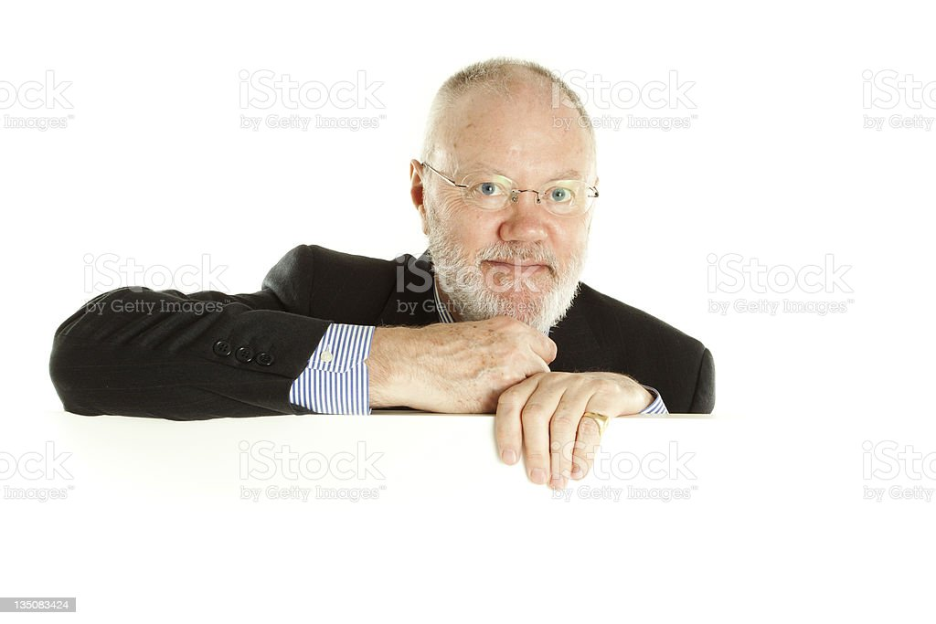 Elderly man on white background royalty-free stock photo