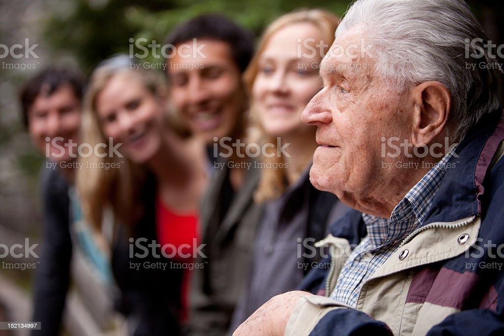 Elderly Man Telling Stories stock photo
