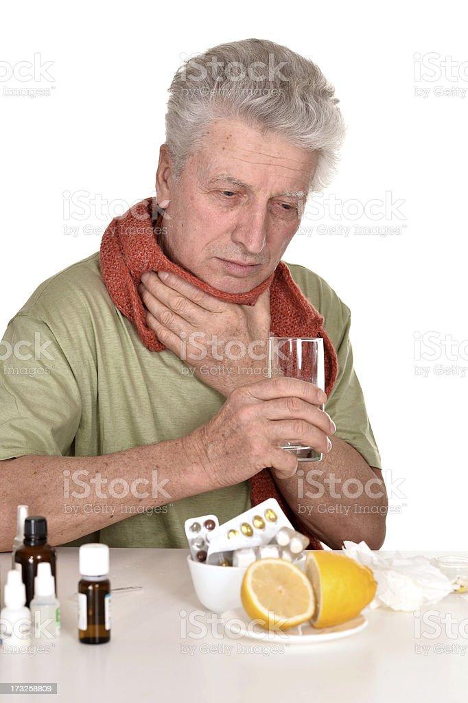 elderly man treated by medicines royalty-free stock photo