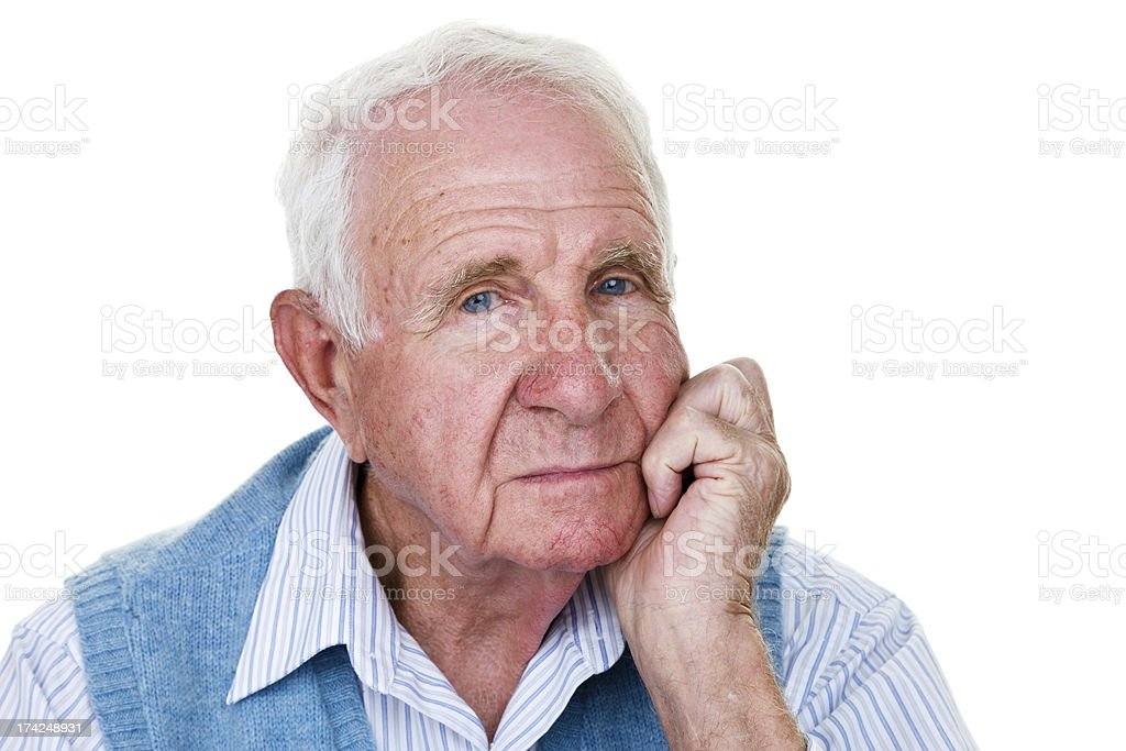 Elderly man with a bored expression stock photo