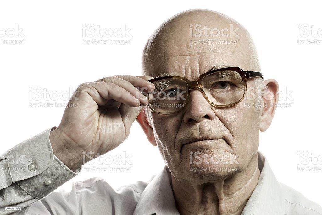 Elderly man with massive glasses isolated on white background royalty-free stock photo