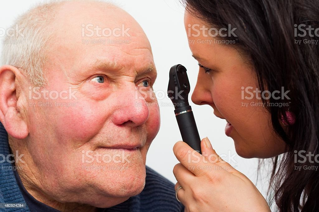 Elderly Man With Vision Problems stock photo