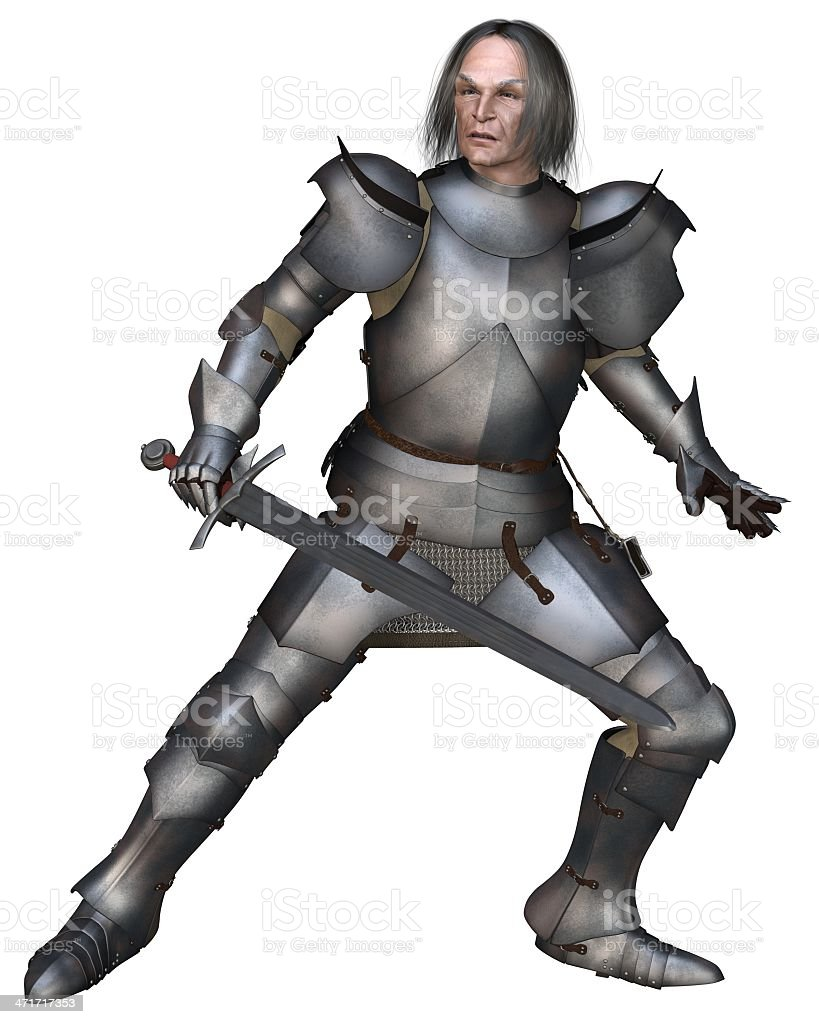 Elderly Mediaeval Knight Fighting royalty-free stock photo