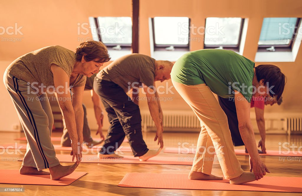 Elderly men and women stretching in a health club. stock photo