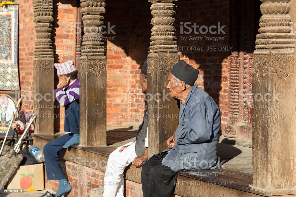 Elderly men at Kathmandu Durbar Square stock photo