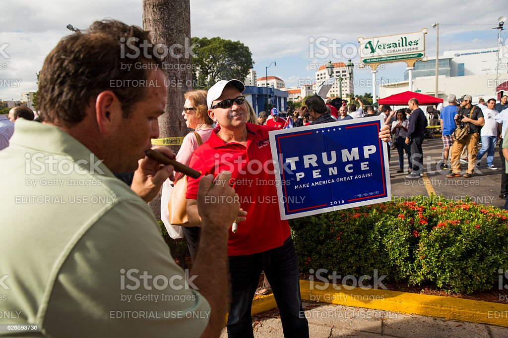 Elderly men celebrating the death of Fidel Castro stock photo