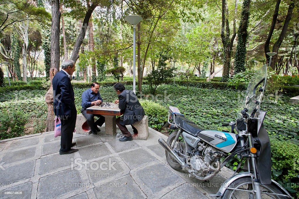 Elderly men playing chess in the green park stock photo