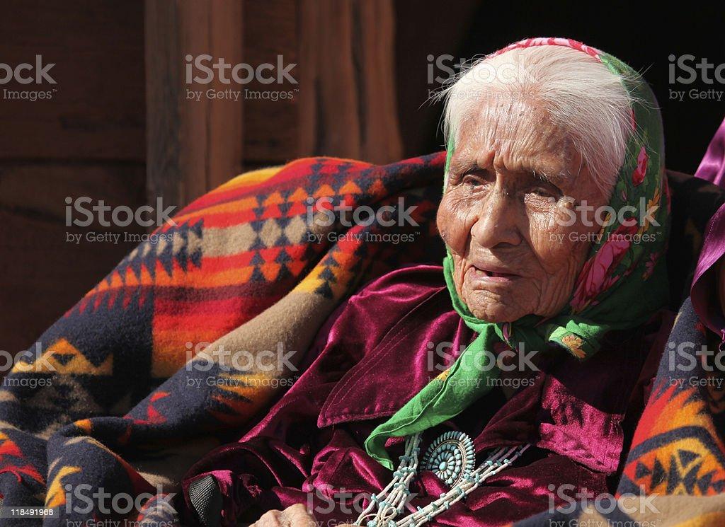 Elderly Native American Woman stock photo